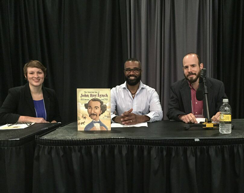 Chris Barton and I along with our editor, Kathleen Mertz of Eerdmans discuss our book, The Amazing Age of John Roy Lynch at the Fay Kaigler Children's Book Festival, April 2015
